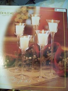 Tall 5 piece Glass Votive Candle Set centerpiece  For centerpieces