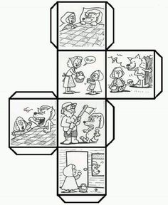 Have students color, cut, fold, and paste to make a story cube that can be used to retell Story Cubes, English Activities, Book Activities, Fairy Tale Crafts, Story Sack, Traditional Tales, Three Little Pigs, Retelling, English Lessons