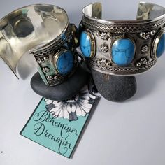 Turquoise Cuff, Turquoise Stone, Chunky Jewelry, Silver Jewelry, Flower Designs, Mixed Metals, Bohemian Jewelry, Bracelets, It Cast