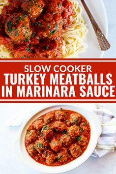 These Slow Cooker Turkey Meatballs in Marinara are so flavorful and packed with fresh herbs! Plus they're gluten free, dairy free, and compliant. Perfect as an entree over noodles or as an appetizer! Slow Cooker Turkey Meatballs, Ground Turkey Meatballs, Turkey Mince, Crock Pot Meatballs, Baked Turkey, Turkey Meatballs Gluten Free, Healthy Meatballs, Turkey Sausage, Slow Cooking