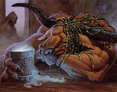 Minotaur drinking sleeping potion