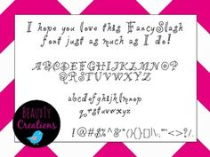 """Check out my new """"Fancy Slash"""" Font at my TPT Store - BeauxTy Creations!!"""