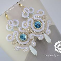 Soutache white bridal earrings with Rivoli Swarovski