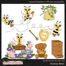 Layered Honey Bees Templates by NewE Designz #CUdigitals cudigitals.comcu commercialdigitalscrapscrapbookgraphics #digiscrap