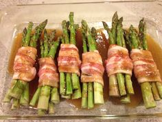 Bacon wrapped asparagus bundles- with butter/brown sugar sauce. Directions at food network under Trisha Yearwood.