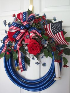 BLUE GARDEN HOSE- July 4th Red White Blue ROSES Flag Door Wreath -FREE SHIPPING!