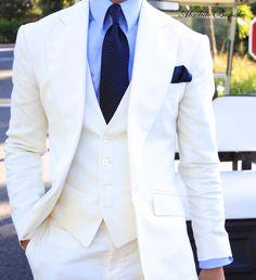☆The Three piece suit by Absolute Bespoke. Sharp Dressed Man, Well Dressed Men, Audemars Piguet, Mens Fashion Suits, Mens Suits, Costume Blanc, Cream Suit, Designer Suits For Men, Three Piece Suit