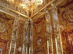 Reconstruction, Amber Room today.  Old Photographs were used to reconstruct the room.  Nobody knows what became of the stripped original Amber Room.  It has never been discovered.
