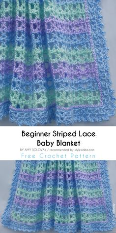 Beginner Striped Lace Baby Blanket: FREE #Crochet Pattern #crochet #forchildren #babyblabket