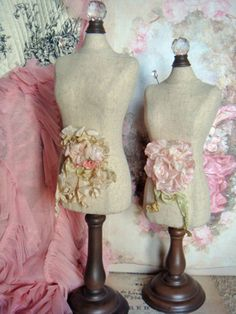 French Dress Form With Pink Rose Pin