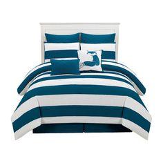 7pc Microfiber Nautical Themed Comforter Set Navy Blue