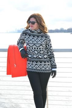 Anna from @annabaun prepares for colder weather in her J.Jill jacquard mock-neck sweater.