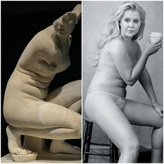 Left, Aphrodite, the goddess of love, once considered the ideal of feminine beauty. Right: Amy Schumer, criticized for daring to show her body when she doesn't have a perfectly flat stomach. Who gets to decide what's beautiful and what's not? Amy Schumer, Image Positive, Body Positive, Body Shaming, Intersectional Feminism, Body Love, Portraits, Equal Rights, Patriarchy