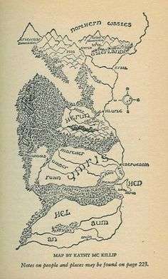 map from the Riddlemaster trilogy by Patricia A. McKillip. Map by Kathy McKillip
