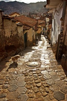 Cusco, Peru is in a valley and these somewhat steep streets become some of the most challenging climbs for gasping tourists acclimating to high altitudes