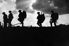 British soldiers moving towards the frontline during the Battle of Broodseinde. Third Battle of Ypres, October Photo by Ernest Brooks World War One, First World, Battle Of Passchendaele, Battle Of Ypres, Soldier Silhouette, Cross Silhouette, Silhouette Vector, Ww1 Art, Otto Von Bismarck