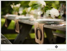"""""""Lucky In Love"""" wedding style shoot at Willowcroft Winery in Leesburg VA (horseshoes and table setting)"""