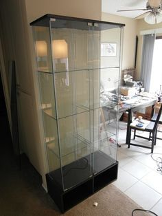 Artistic display cabinets with glass doors ikea glass display Funko Pop Display, Lego Display, Ikea Glass Door Cabinet, Glass Cabinets, Glass Doors, Model Display Cases, Ikea Detolf, Diy Bathroom Decor, Displaying Collections