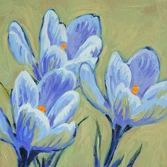 Blue Spring Crocus Greeting Card for Sale by Dusan Balara Still Life Oil Painting, Blue Springs, All The Colors, Color Splash, Fine Art Prints, Original Paintings, Greeting Cards, Bloom, Wall Art
