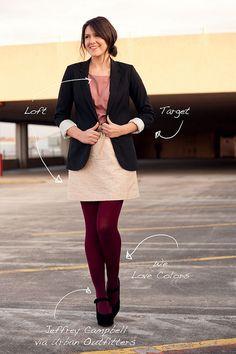 winter tights, skirt, blazer= <3