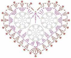 Crochet heart 3 inner flowers diagram