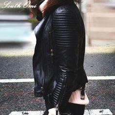 Pas cher 2015 nouveau mode automne hiver femmes marque Faux cuir souple vestes Pu Blazer noir fermeture éclair manteau moto vêtements d'extérieur et Rivet, Acheter  Cuir et daim de qualité directement des fournisseurs de Chine:                        2015 New Fashion Autumn Winter Women Brand Faux Soft Leather Jacke