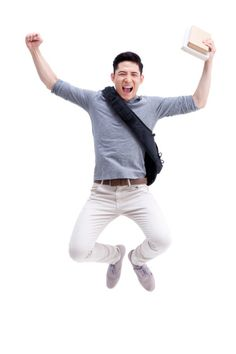 Stock Photo : Male college student cheering