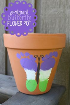 Moms will love how much you've grown with this footprint butterfly flower pot!