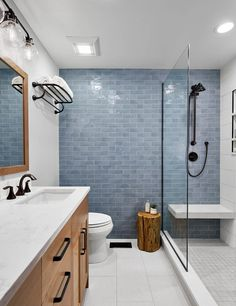 South Loop: Federal St - Transitional - Bathroom - Chicago - by Lugbill Designs Modern Bathroom Paint, Bathroom Interior Design, Master Bathroom, Bathroom Feature Wall Tile, Wood Look Tile Bathroom, Scandinavian Bathroom Design Ideas, Small Full Bathroom, Glass Tile Bathroom, Small Shower Room