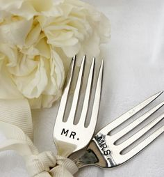 Mr. & Mrs. cake forks.