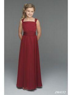 A-Line Strapless Natural Waist Pleated Long Chiffon Spaghetti Straps Red Junior Bridesmaid Dresses