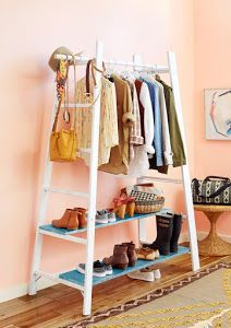 If you are limited on closet space, give these DIY clothes rack ideas a try! Garment racks can give you extra space for your stylish wardrobe! Diy Deco Rangement, Diy Furniture Making, Upcycled Furniture, Diy Clothes Rack, Wooden Clothes Rack, Diy Ladder, Ladder Shelves, Ladder Storage, Closet Shelves