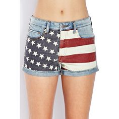 Forever 21 Women's  Americana Denim Shorts (26 CAD) ❤ liked on Polyvore featuring shorts, bottoms, distressed jean shorts, forever 21 shorts, ripped shorts, american shorts and american flag shorts