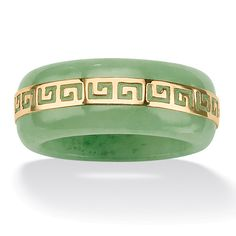 """earth, wisdom mythology: green jade """"greek key"""" ring by palm beach jewelry. modern style meets ancient tradition with this green jade ring. a highly polished gold """"greek key"""" trim swirls around the center Jade Jewelry, Jewelry Accessories, Jewelry Design, Gold Jewellery, Jewelry Rings, Jewelry Watches, Women Jewelry, Greek Jewelry, Jade Necklace"""