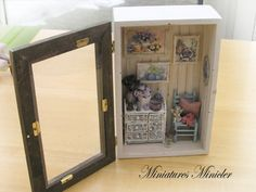 Miniature Dollhouse Garden Sitting Nook by Minicler on Etsy
