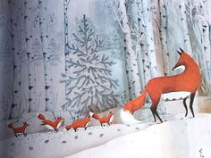 Fox's Garden – A warm wordless tale for kids and their grownups to curl up with on chilly winter nights  Fox's Garden  by Princesse Camcam  Enchanted Lion Books  2014, 32 pages, 6.2 x 10.5 x 0.5 inches   $12 Buy a copy on Amazon   Night is just falling as a fox trudges through an icy tangle of forest, seeking shelter. She is a sliver of color in a frozen landscape. A sickle moon rises over a snow-blanketed town, but one by one, frosty adults drive the fox from warm doorways. At l...