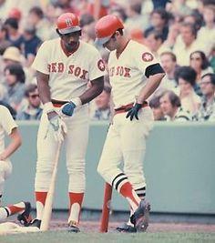 Jim Rice & Carl Yastrzemski consult in the on-deck circle at Fenway Park. Baseball Socks, Tigers Baseball, Chicago White Sox, Boston Red Sox, Jim Rice, Boston Sports, Boston Baseball, Mlb Uniforms, Sports