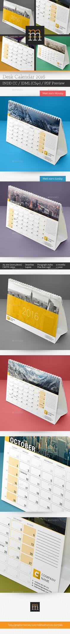 Desk Calendar 2016 Template InDesign INDD #design Download: http://graphicriver.net/item/desk-calendar-2016/13888598?ref=ksioks