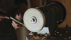 A Blacksmith Sharpening a Workpiece On a Grinding Lap #Abrasive, #Ceramics, #Closeup, #Cutter, #Disk, #Grinding, #Grindstone, #Lathe, #Machine, #Metal, #NovAvision2, #Sharpening, #Tool, #Wheel, #Worker, #Workshop http://goo.gl/QcVBIi