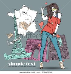 Beautiful girl in sketch-style on a french-background. Vector illustration by R_lion_O, via ShutterStock