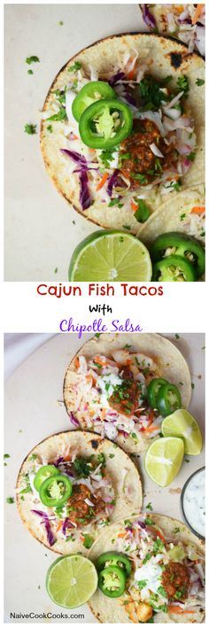 Cajun Fish Tacos With Chipotle Salsa are seriously easy to put together & a great healthy flavorful weeknight option!!NaiveCookCooks.com#tacos #healthy #tacos #fish #chipotle #salsa #summer
