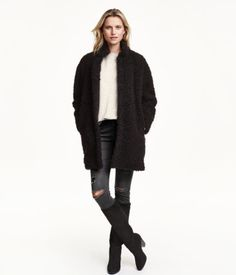 Straight-cut coat in cozy pile with a stand-up collar, hook-and-eye fasteners at front, and concealed side pockets. Lined. | Warm in H&M