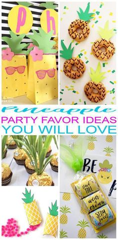 Party Favors! Pineapple party favors that kids or adults will love! Easy ideas that boys and girls will love to take home as a gift from your Pineapple or tropical theme party. Great for summer parties - summer party favor ideas! DIY ideas, goodie bags, candy, toys and more. Find the best Pineapple party favor ideas now!