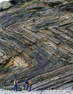 Zig zag folds in rock.