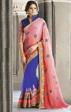 Lovable Pink and Blue Saree with Designer Blouse
