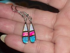 LOOK!!!! A BEAUTIFUL PAIR OF STERLING SILVER PINK, BLUE AND WHITE FIRE OPAL DANGLE EARRINGS