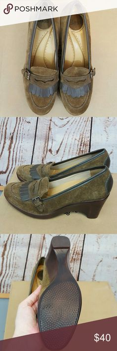 Vintage Bass Green Suede Wedges, Size 7M A pair of vintage Bass, green suede wedges, size 7M, in mint condition!  There is a slight chip on one of the heels, but it isn't noticeable when they're on. Bass Shoes Wedges