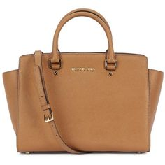 Womens Tote Bags Michael Kors Selma Large Brown Saffiano Leather Tote (660 AUD) ❤ liked on Polyvore