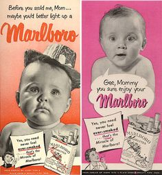 Very Inappropriate Vintage Ads - Babies LOVE cigarette smoke, right?!