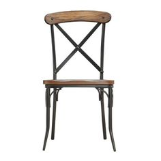 Nelson Industrial Modern Rustic Cross Back Dining Chair by Tribecca... (190 CAD) ❤ liked on Polyvore featuring home, furniture, chairs, bistro furniture, inspire q furniture, inspire q chairs, bistro chairs and colored chairs